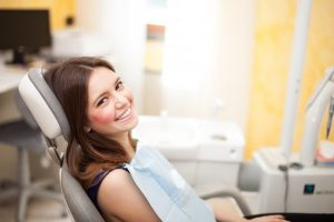 A woman at her dental exam.