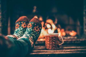feet warming by fireside